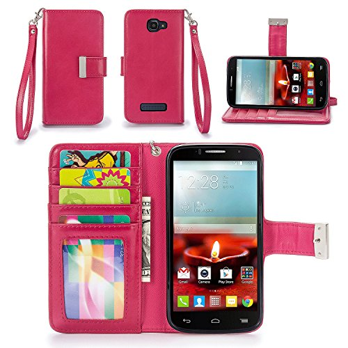 IZENGATE Alcatel One Touch Fierce 2 Wallet Case - Executive Premium PU Leather Flip Cover Folio with Stand (Deep Rose Pink)