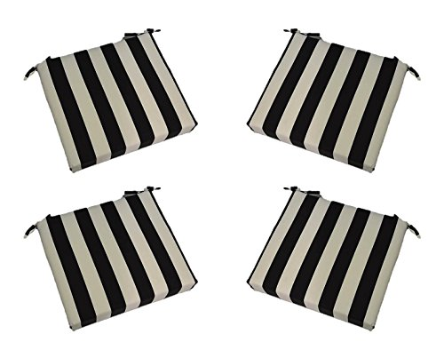 "Cheap Set of 4 – Indoor / Outdoor Black and White Stripe 17"" X 17"" Square Universal 3"" Thick Foam Seat Cushions with Ties for Dining Patio Chairs"