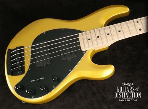 Ernie Ball Music Man StingRay5 HH Maple Fretboard Matching Headstock 5-String Electric Bass Guitar Firemist Gold