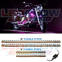 LEDGlow 4pc Pink LED Flexible Motorcycle Light Kit