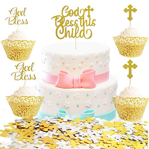 25 Counts Sparkly God Bless Cake Toppers with 12g Gold and Silver Cross Confetti for First CommunionDecorations,Kingsnow Cross Cupcake Toppers for Baptism Christening 1st Holy Communion Decoration Cupcake Toppers Birthday Cake Decor