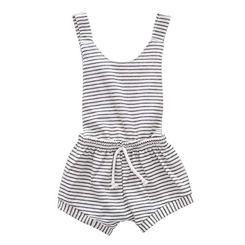 CANDYEEMMA Toddler Stripes Overalls for Girls Linen Jumpsuit Boys Romper Shorts Outfits (Pinstriped, 12-24M, 80)