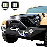 oEdRo Wrangler Front Bumper Combo Compatible for 07-18 Jeep Wrangler JK with 2x LED Lights - Upgraded Textured Black Rock Crawler Off Road With Winch Plate Mounting Star GuardianDesign