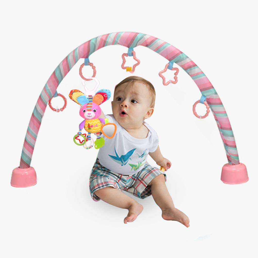 Dmeixs Hanging Stroller Toys, Infant Teether Toys Squeaker Crinkly Ear,Baby Stroller Toys Colorful Car Seat Rattle Toys,Rabbit Toys Stroller,Car Seat,Infant Bed by Dmeixs (Image #7)