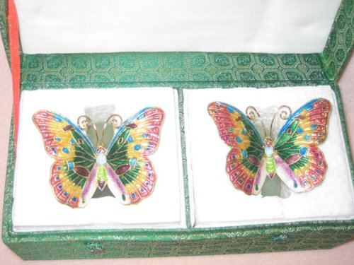 Christmas Gift! Set of Two Jade Napkin Rings with Cloisonne Butterfly