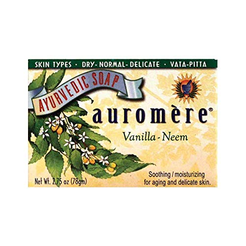 Ayurvedic Bar Soap Vanilla-Neem by Auromere - All Natural Handmade and Eco-friendly Bar Soap for Sensitive Skin - 2.75 oz