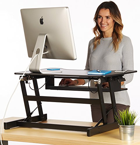 the house of trade standing desk height adjustable sit to stand up desk riser 32in wide fits. Black Bedroom Furniture Sets. Home Design Ideas