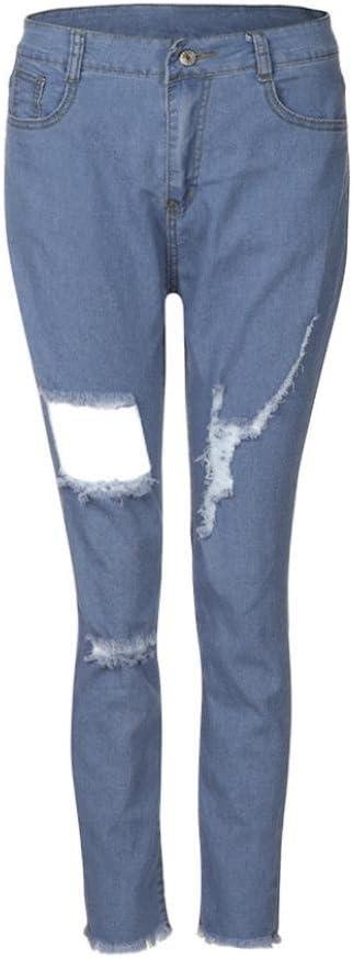 Luckygirls Pantalones Mujer Vaqueros De Rotos Negro Cintura Alta Originals Casual Pantalon Moda Slim Skinny Legging Elasticos Jeans Pantalones Ropa