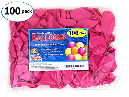 Garage Sale Pup Pack of 100, Bright Pink Color 5 Decorator Latex Balloons, Made in USA!