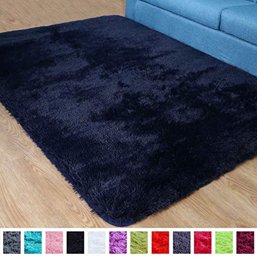 PAGISOFE Super Soft Fluffy Velvet Fabric Indoor Room Area Rugs Carpets for Living Room Bedroom Kids Nursery Decor Dining Floor Non Slip Shag Rectangle Rug 4x5.3 Feet (Navy Blue)
