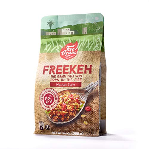 (FireGrain Whole Grain Freekeh world's most nutritious super food/healthy grain, fresh from Galilee, taste the Mediterranean. Enjoy Delicious Vegan Freekeh with Every Meal. 10.6 oz. (Mexican, 1 Pack))