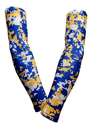PAIR - Sports Farm - Compression Elbow Arm Sleeves (YOUTH LARGE, ROYAL YELLOW DIGI CAMO)