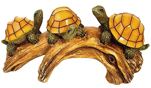 Skrootz Decorative Garden Solar Lights Outdoor Powered Turtles on Log with LED Glowing Shells Decor Decoration Brown Green Light