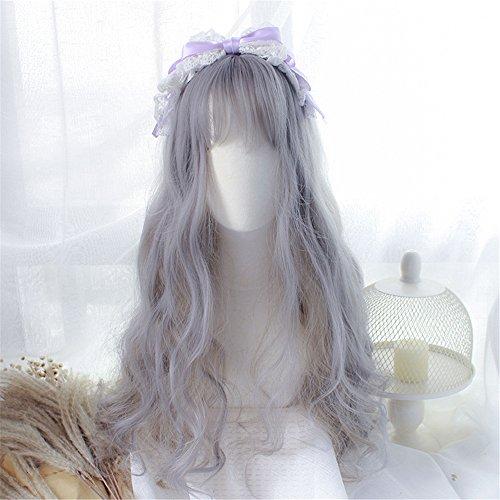 Prettybuy Popular Grandma Grey Mix Withered Grass Color Synthetic Hair Long Curly Big Wavy Wig Kanekalon Futura Hair Wig Harajuku Style Lolita Wig