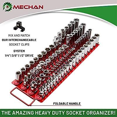 Mechan 80pc Portable Socket Organizer Tray – Premium Quality Socket Tray – Adjustable Socket Holder – Sturdy Socket Rails w/Spring Loaded Ball Bearing Socket Clips for Tool Box Organization: Automotive