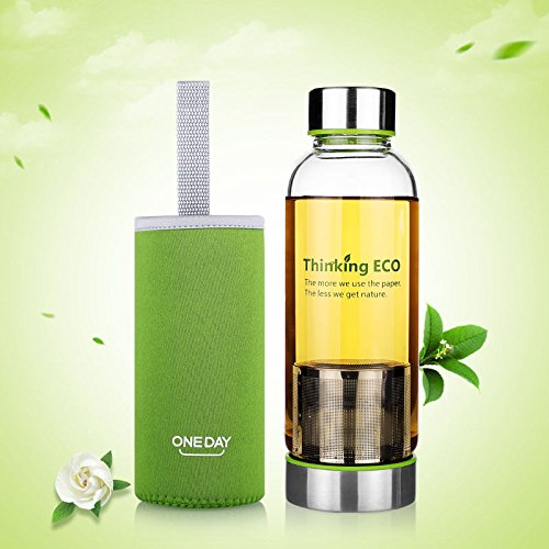 380Ml Glass Water Bottle Sports Travel Mug Cup Tea Infuser Cover Green by Travel Mugs