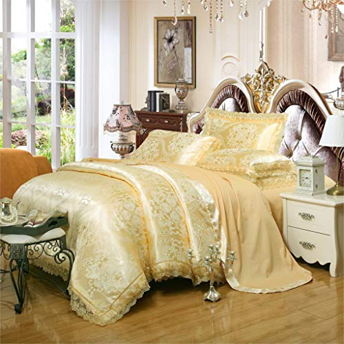 (KJ.UYO Lace Flowers Silk Tencel Satin Jacquard Embroidery Bed Linen Bedding Bedclothes Duvet Cover Set 4/6Pcs)