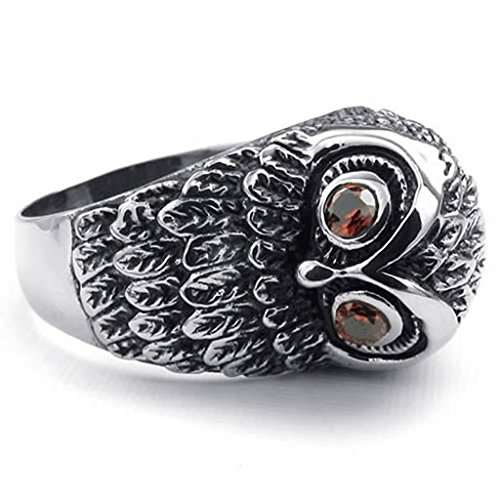 Bishilin Stainless Steel Fashion Men's Rings Retro Owl CZ Ring Red Silver Size 9 (Dragon Lord Costume)