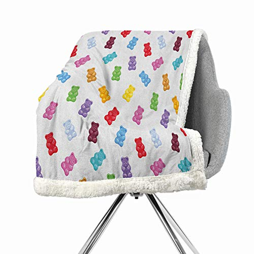 (Khakihome Kids Digital Printing Blanket 60 by 78 Inch car MulticolorVibrant Colored Gummy Bears Candies Delicious Jelly Sugary Snack Chewy Sweet Taste)