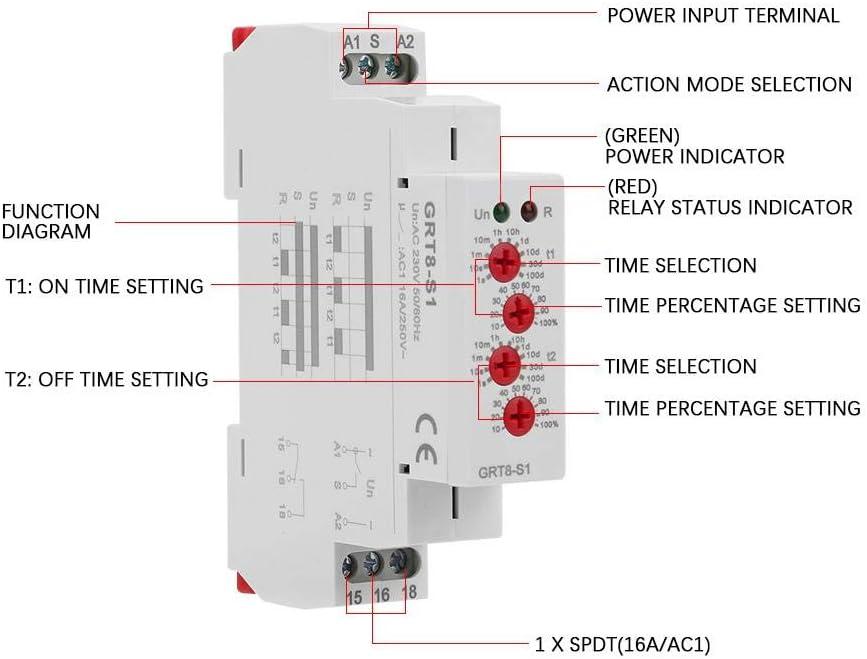 Relay Timer GRT8-B1 Rel/è temporizzatori Mini spegnimento Ritardo rel/è Guida DIN Tipo AC 220V Eastbuy Rel/è di Tempo