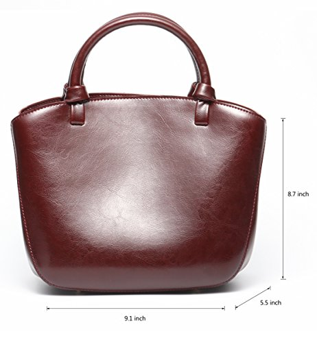 Covelin Genuine Leather Handbag Womens Retro Middle Size Tote Shoulder Bag Black