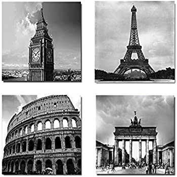 Simonfineus architectures modern 4 panels giclee canvas prints europe buildings black and white landscape pictures paintings