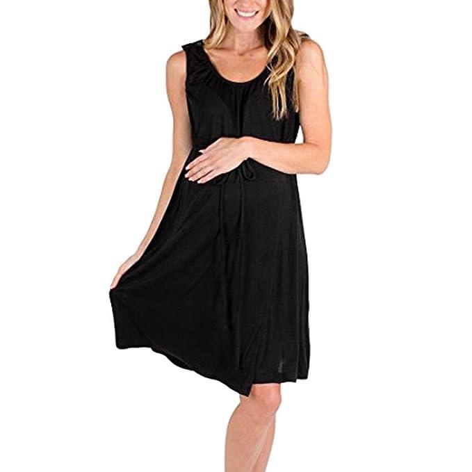 K-youth Mujer Vestidos Premama Verano Casual Vestidos de Maternidad Cómodo Sin Mangas Suelto Embarazo Lactancia Vestidos de Fiesta Embarazada Vestido para ...