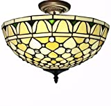 Whse of Tiffany T16043UL Alvira 2-Light Tiffany-Style Ceiling Lamp - 16