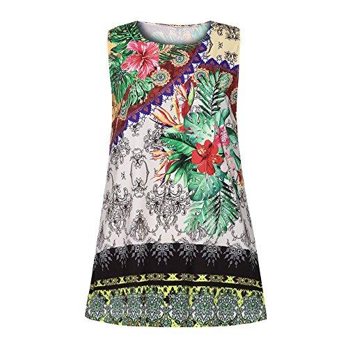 Cuello Sin Impresión Verde Verano vestidos Mujeres las OverDose Mangas de de Vendimia la I Redondo del qTR4F