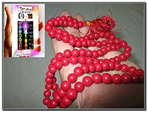 Jet Best Quality Red Coral Prayer Japa Mala 7-8 mm 108 + 1 Prayer A++ Beads Meditation Concentration Healing Blessed Om Aum Energized Yoga Gayatri Ganesha Mantra Worship God Best Quality