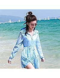 XRXY Sección larga femenina Anti-UV Protección solar Ropa/Thin Cómodo Playa transpirable Protección solar Camisa/Al aire libre Self-cultivo Rebeca de impresión de moda (Color : A, Tamaño : XL)