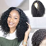ORIGINAL QUEEN Kinky Curly Lace Front Wig With Pre Plucked Hairline 150% Density Lace Frontal Wigs Curly Human Hair Wigs Natural Color (16 inches)