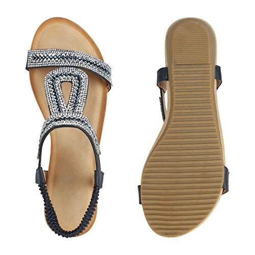 Keilsandaletten Wedges Sandaletten Profil Flandell Schuhe Strass Damen Dunkelblau Stiefelparadies qxUCv6C