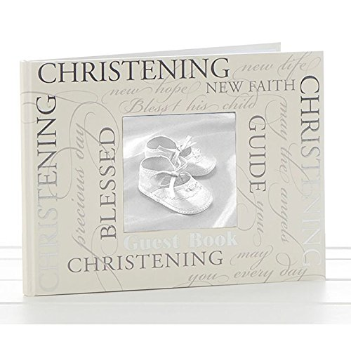White Christening Guest Book Silver Cross and Heart Charm