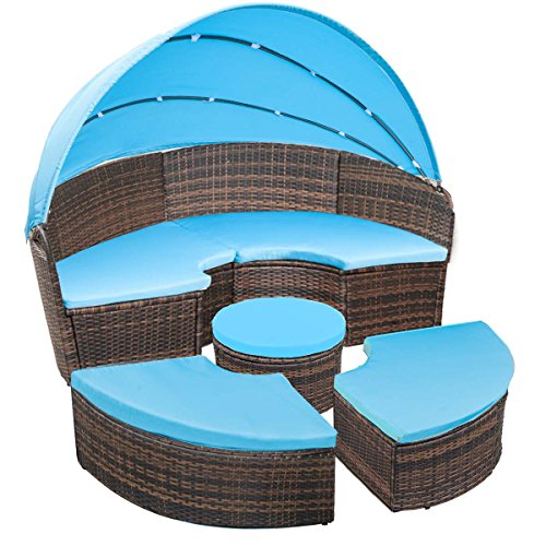 FLIEKS Leisure Zone Outdoor Patio Round Daybed Furniture with Retractable Canopy, Wicker Rattan Sofa Set Waterproof Cushions Backyard Lawn Garden Pool Porch (Blue Cushion)