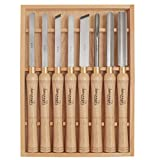 Savannah 7173 HSS Lathe Chisel Set 8 Piece Set For Wood Turning. Hardwood Handles, High Speed Steel, Brass Ferrules, and Wooden Case For Storage