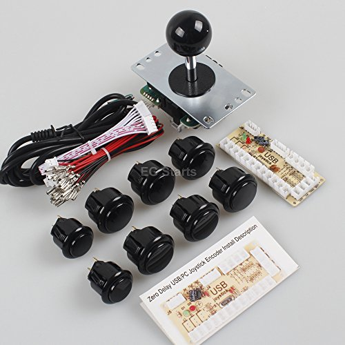 EG Starts Classic 2 Player Sanwa Joystick Arcade Video Games Kit DIY Bundle for PC Joystick & Raspberry Pi RetroPie DIY Projects & Mame Jamma Parts - White + Black Colour Stick + Push buttons by EG STARTS (Image #2)'