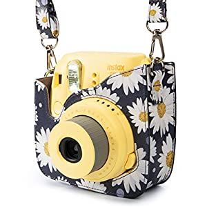 Woodmin Compatible Groovy PU Leather Camera Case with Shoulder Strap for Fujifilm Instax Mini 9 8 8+ Camera (Daisy)