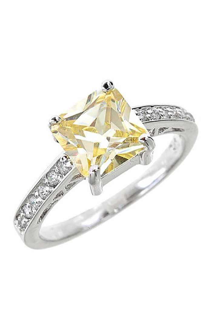 Sterling Silver Canary Diamond CZ Engagement Ring Size : 8
