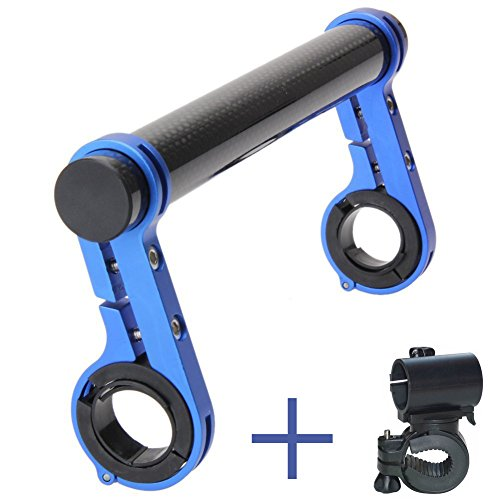 (PGMJ 7.88in/31.8MM Bicycle Double Handlebar Extensions Bike Mounts Carbon Fiber Bracket with Bicycle Front Light Clamp(Blue))