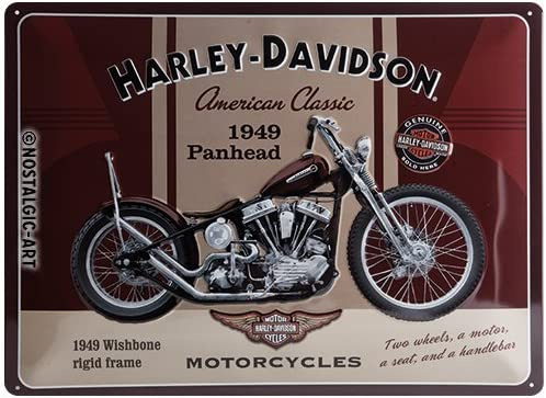 Amazon.com: Harley-Davidson Panhead Tin Sign, 40 x 30 cm ...