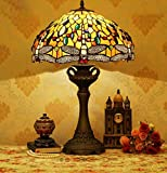 YD-GAO Tiffany Style Yellow Dragonfly Table Lamps - 16 inch Stained Glass Desk Lamps with Alloy Base - Livingroom Bedroom Decoration Bedside Lamps - E27 - MAX60w