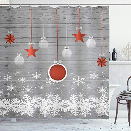 Ambesonne Christmas Shower Curtain, Cloth Fabric Bathroom Decor Set with Hooks, Pendant Stars Baubles, 70 Long