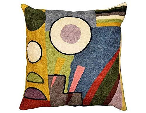 Kashmir Designs Kandinsky Composition VI Cushion Cover Hand Embroidered