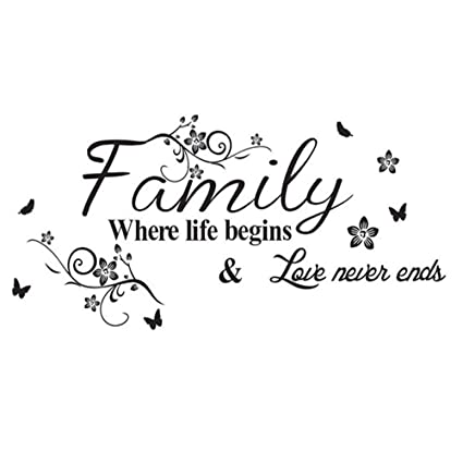 Amazon Com Lapopnut Wall Stickers Family Quote Series Black