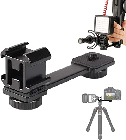 Universal Mic Stand and Light Mount Plate Adapter Vlog Shooting for Zhiyun Smooth 4//Q DJI OSMO Mobile 2 and Feiyu Vimble 2 Gimbal Stabilizer Camera Extension Bracket Triple Cold Shoes Mount Gimbal