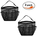 LoveHome 2 Pack Mesh Shower Caddy Bag Quick Dry Shower Tote Bag Hanging Toiletry and Bath Organizer with 8 Storage Compartments for Shampoo, Conditioner Soap and other Bathroom Accessories (Black)