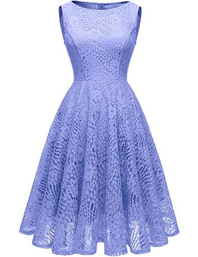 Kingfancy Guipure Lace Dresses, Lace Bridesmaid Dresses for Women Crew Neck Lace Wedding Dress for Evening Party Lavender 3XL
