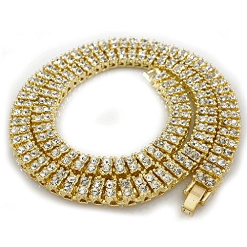 Two Gold Plated (14K Gold Plated 2 Row Iced Out Tennis Necklace, 30 inches)