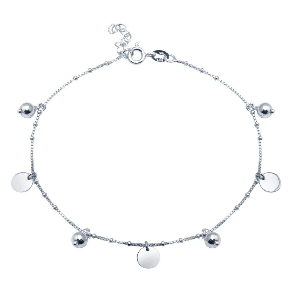Princess Kylie Rhodium Plated Sterling Silver Beaded and Flat Circle Charm Anklet